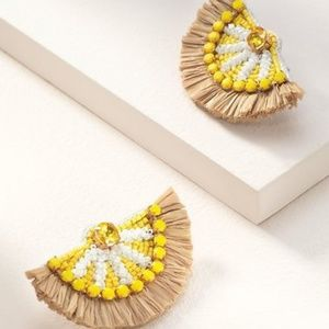 Stella & Dot - Embroidered Lemon Earrings